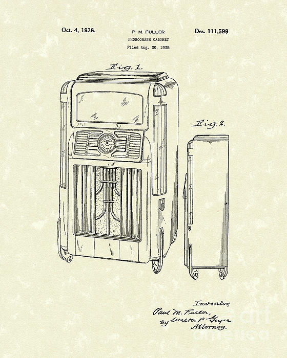 Phonograph Cabinet 1938 Patent Art Print by Prior Art Design
