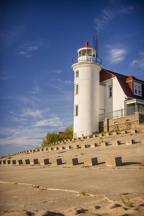 Point Betsie Lighthouse Michigan Print by Adam Romanowicz