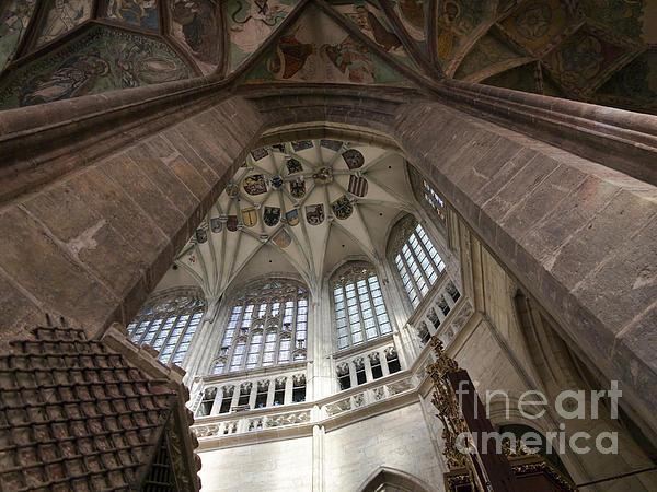 pointed vault of Saint Barbara church Print by Michal Boubin