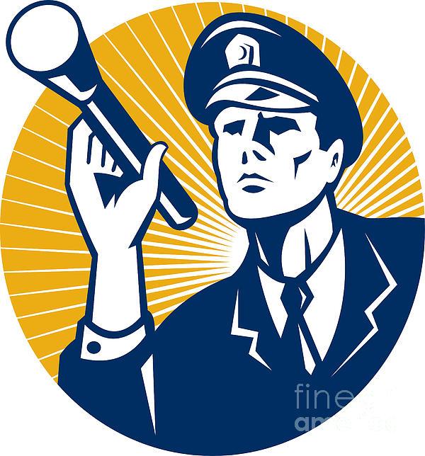 Policeman Security Guard With Flashlight Retro Print by Aloysius Patrimonio