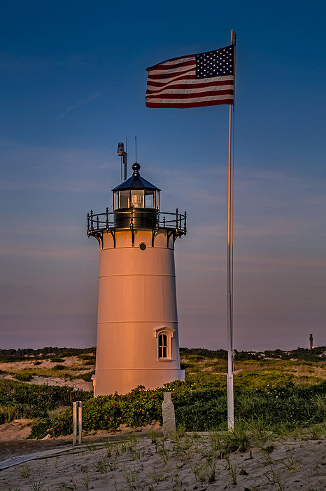 Race Point Lighthouse And Old Glory Print by Susan Candelario