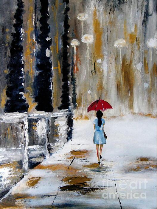 Red Umbrella Print by Halina Plewak