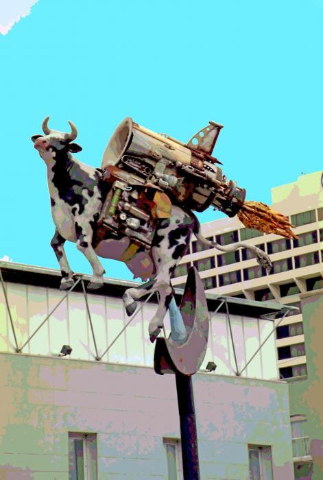 Rocket Cow Sculpture By Michael Bingham Print by Steve Ohlsen