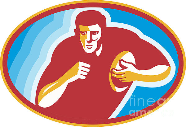 Rugby Player Running With Ball Print by Aloysius Patrimonio