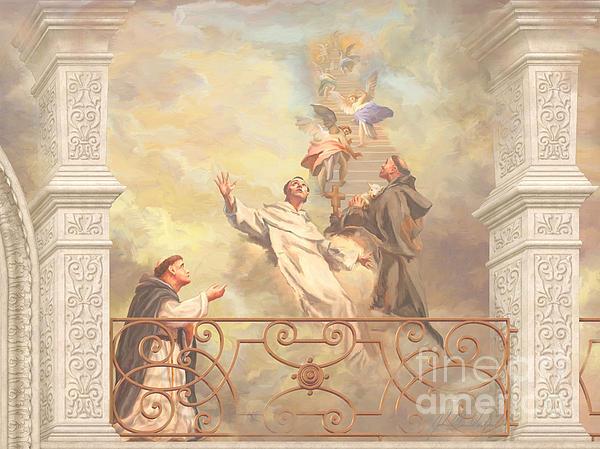 Saints Dominic Benedict And Francis Of Assisi 2 Print by John Alan  Warford