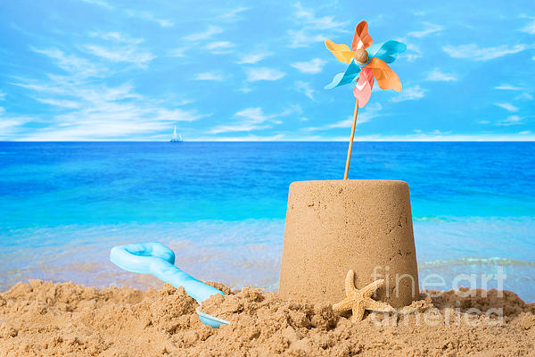 Sandcastle On Beach Print by Amanda And Christopher Elwell
