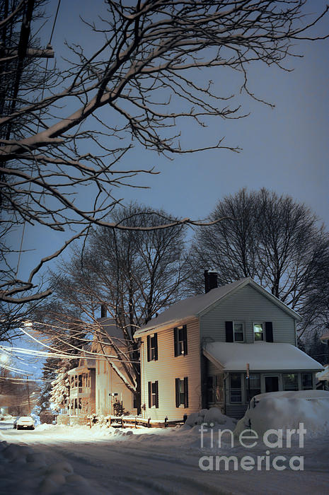 snowy night in Northampton Print by HD Connelly