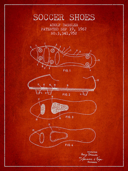 Soccer Shoe Patent From 1967 Print by Aged Pixel
