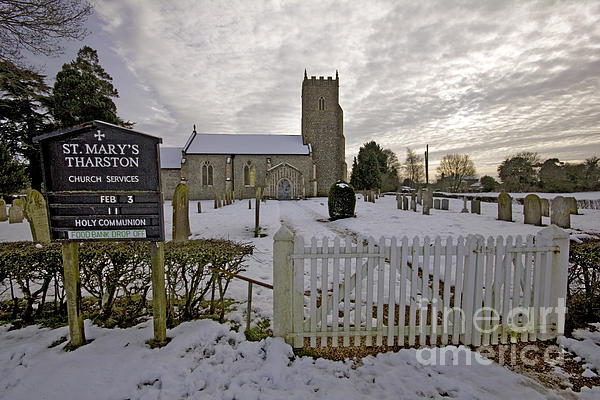 St Mary's Tharston Print by Darren Burroughs