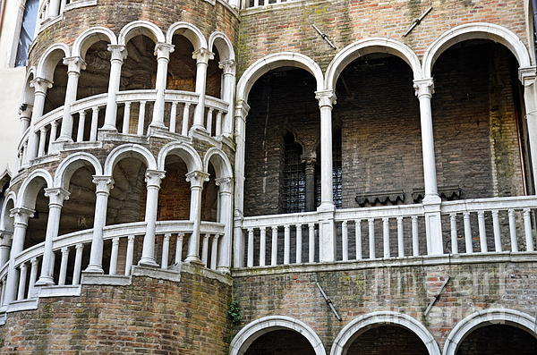 Staircase At Palazzo Contarini Del Bovolo Print by Sami Sarkis