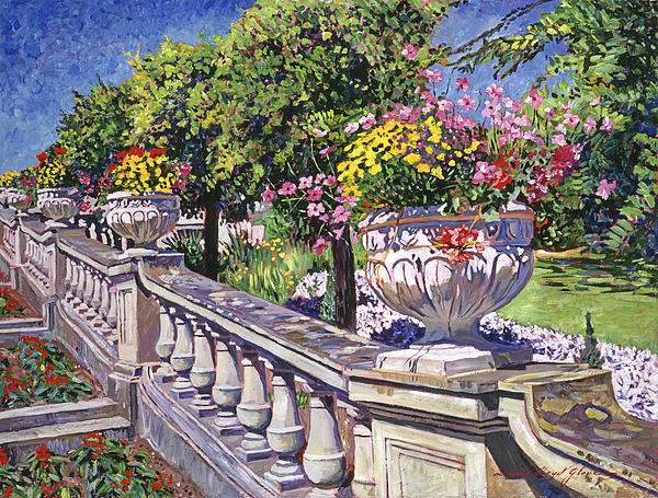 Stairway Of Urns Print by David Lloyd Glover