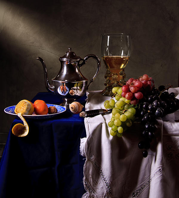 Still Life With Roemer And Silver Tea Pot Print by Levin Rodriguez