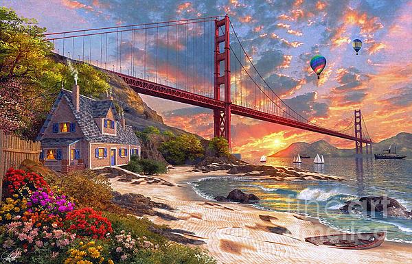 Sunset At Golden Gate Print by Dominic Davison