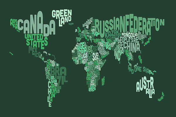 Text Map Of The World Map Print by Michael Tompsett