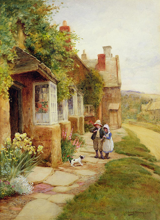 The Puppy Print by Arthur Claude Strachan
