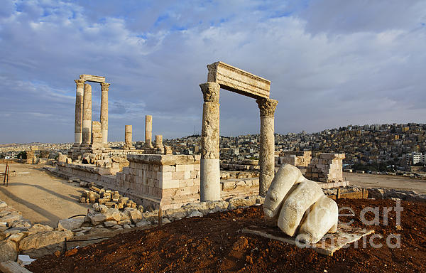 The Temple Of Hercules And Sculpture Of A Hand In The Citadel Amman Jordan Print by Robert Preston