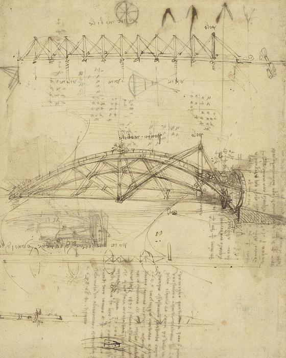 Three Kinds Of Movable Bridge Print by Leonardo Da Vinci