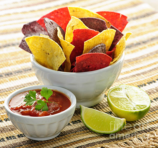 Tortilla Chips And Salsa Print by Elena Elisseeva