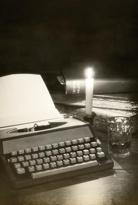 Typewriter By Candlelight Print by Amanda And Christopher Elwell