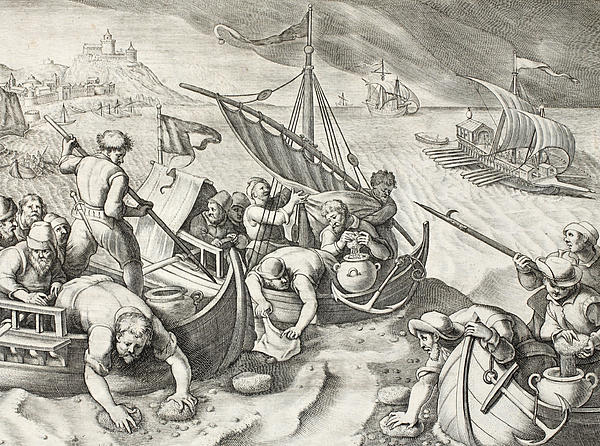 Using Sponges To Collect Naphtha From The Surface Of The Waves Print by Jan Van Der Straet