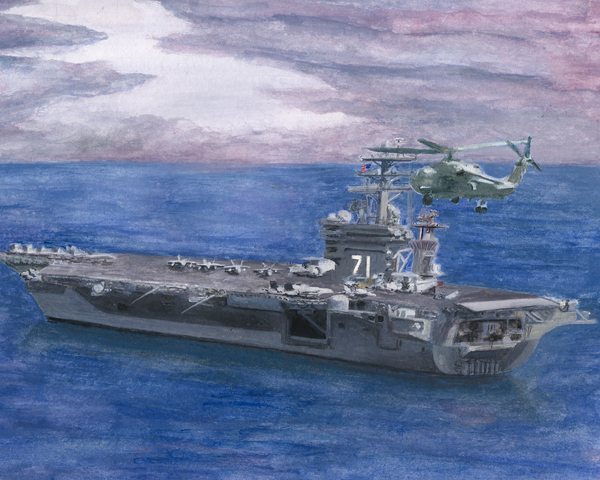 Uss Roosevelt Print by Sarah Howland-Ludwig