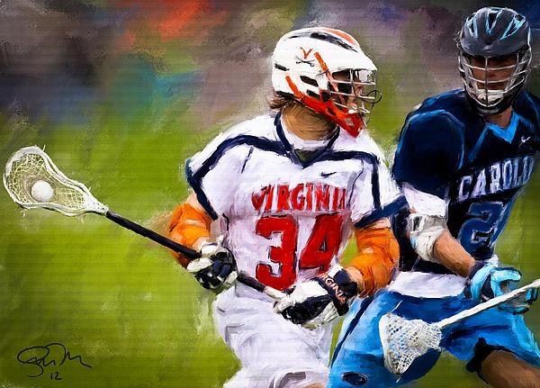 Virginia Lacrosse Print by Scott Melby
