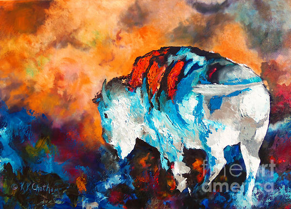 White Buffalo Ghost Print by Karen Kennedy Chatham