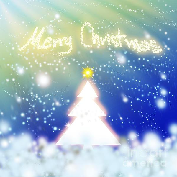 White Christmas Tree Print by Atiketta Sangasaeng