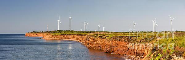 Wind Turbines On Atlantic Coast Print by Elena Elisseeva