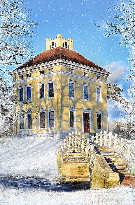 Winter Landscape With A Bridge Over The River And Interesting Home Print by Gynt