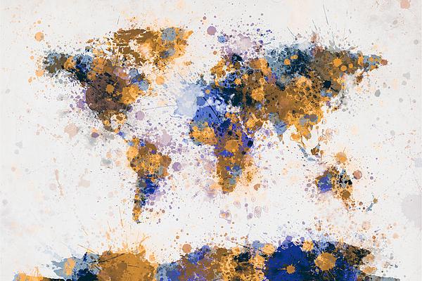 World Map Paint Splashes Print by Michael Tompsett