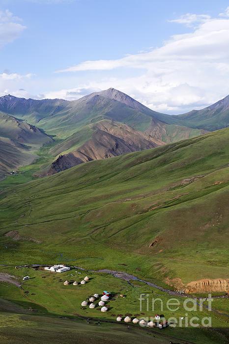 Yurts In The Tash Rabat Valley Of Kyrgyzstan Print by Robert Preston