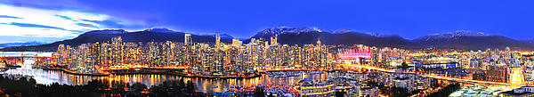Vancouver Skyline Panorama Print by Wesley Allen Shaw