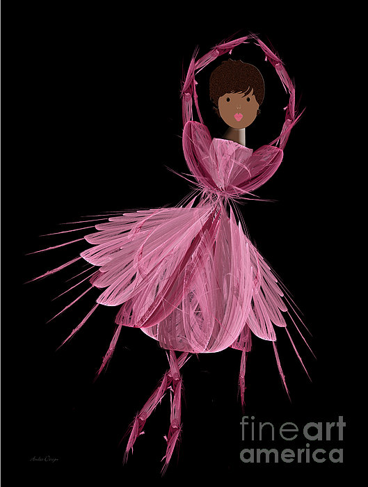 12 Pink Ballerina Print by Andee Design