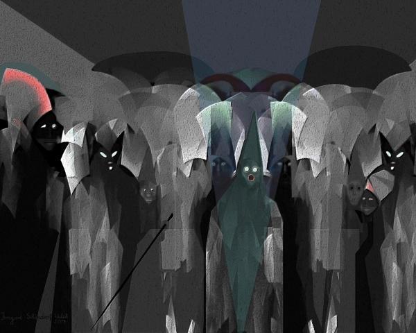 127 -  Nightwalkers Dark Print by Irmgard Schoendorf Welch