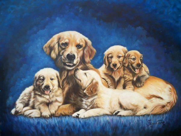 145 Golden Retriever And Pups Print by Sigrid Tune