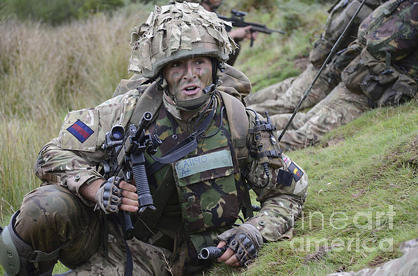 Welsh Guards Training Print by Andrew Chittock
