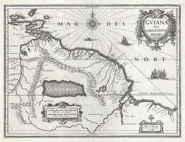 1635 Blaeu Map Guiana Venezuela And El Dorado Print by Paul Fearn