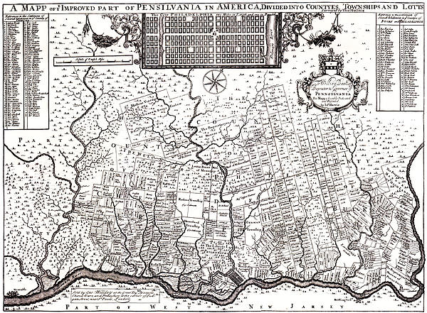 1687 Pennsylvania Map Print by Bill Cannon