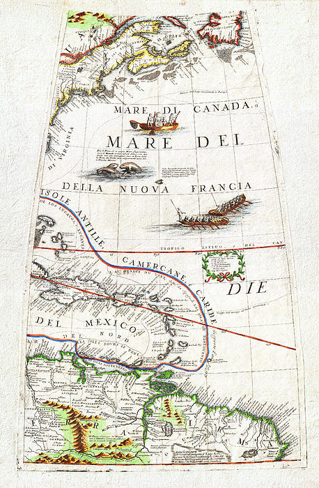 1688 Coronelli Globe Gore Map Of Ne North America The West Indies And Ne South America Geographicus Print by MotionAge Designs