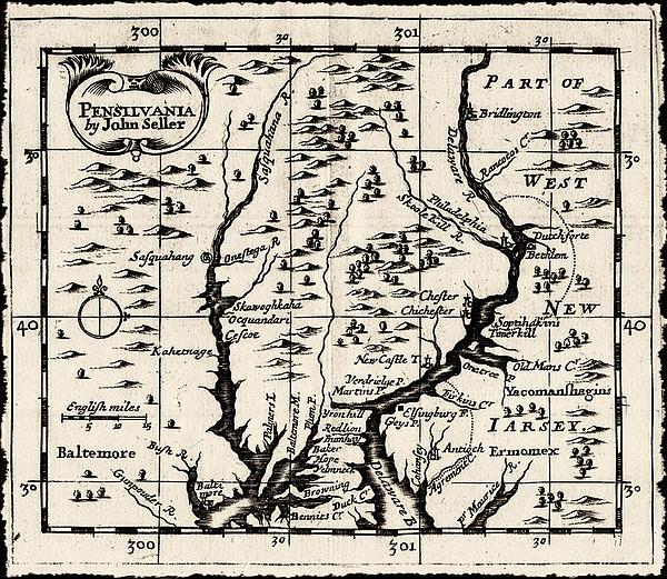 1690 Pennsylvania Map Print by John Seller