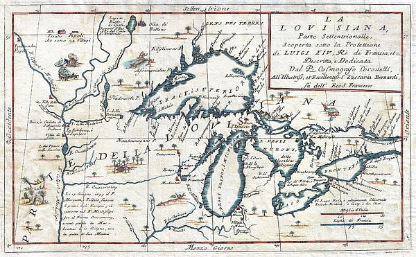 1696 Coronelli Map Of The Great Lakes Most Accurate Map Of The Great Lakes In The 17th Century Geogr Print by MotionAge Designs