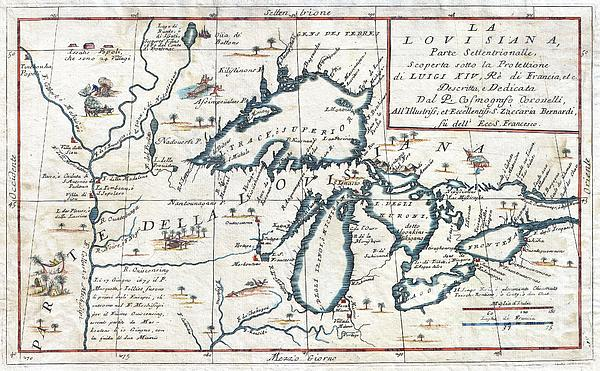 1696 Coronelli Map Of The Great Lakes Print by Paul Fearn