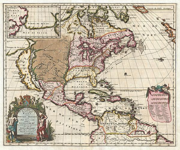 1698 Louis Hennepin Map Of North America Geographicus Northamerica Hennepin 1698 Print by MotionAge Designs