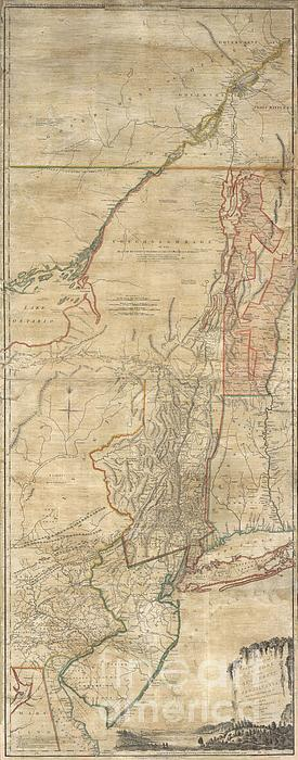 1768 Holland  Jeffreys Map Of New York And New Jersey Print by Paul Fearn