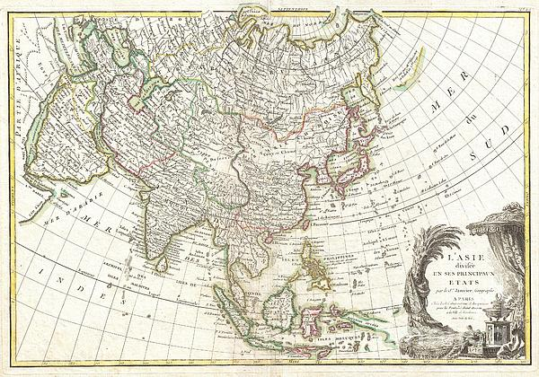 1770 Janvier Map Of Asia Print by Paul Fearn