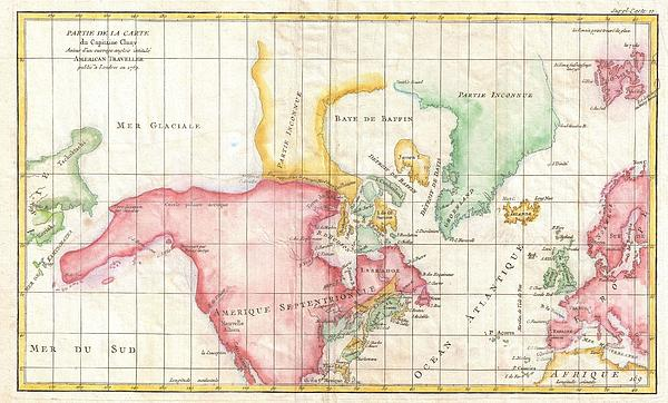 1772 Vaugondy And Diderot Map The North America Illustrating Clunys Voyages Print by Paul Fearn