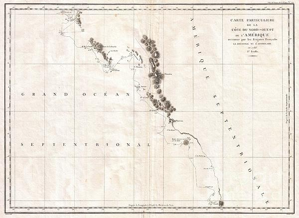 1786 La Perouse Map Of Vancouver And British Columbia Canada Print by Paul Fearn