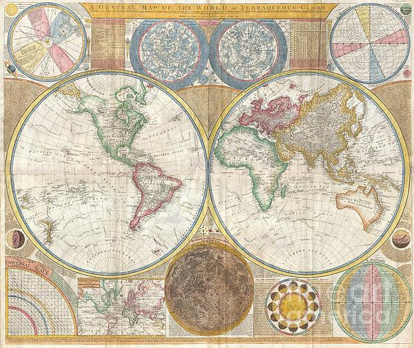 1794 Samuel Dunn Wall Map Of The World In Hemispheres Print by Paul Fearn