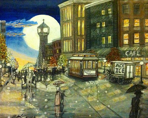 1800s Street Scene Painting Print by Larry E Lamb